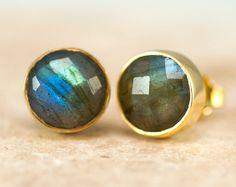 LABOR DAY SALE Labradorite Stud Earrings Gemstone by delezhen