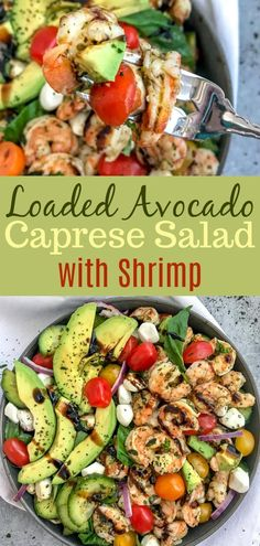 Loaded Avocado Caprese Salad with Shrimp - Salad Recipes - Eating Fast, Clean Eating Snacks, Healthy Eating, Healthy Sweet Snacks, Healthy Recipes, Seafood Recipes, Cooking Recipes, Shrimp Salad Recipes, Caprese Salat