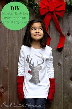 DIY Hipster Rudolph Shirt made with Cricut Explore -- Sew Creative Blog. #DesignSpaceStar Round 5