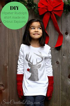 DIY Hipster Rudolph Shirt made with Cricut Explore -- Sew Creative Blog. #DesignSpaceStar Round 5