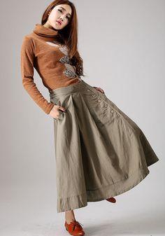 Khaki skirt woman Maxi linen skirt with button detail by xiaolizi, $69.99
