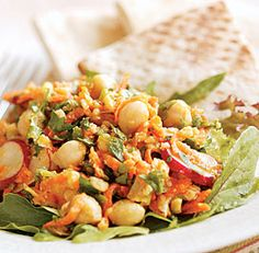 Chickpea, Carrot & Parsley Salad - Serves four to six as a vegetarian main dish; eight as a side dish