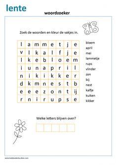 Woordzoeker thema lente voor groep 3. Learn Dutch, Dutch Language, Indoor Activities For Kids, School Readiness, Letter B, Kids Learning, Kids Playing, Spelling, Worksheets