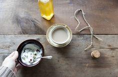 greek yogurt with honey, pepitas, + dates. tea with almond vanilla milk.