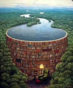 Surrealism Art - title Bible Dam by painter Jacek Yerka - Behind every stack of books is a flood of knowledge! Stack Of Books, I Love Books, My Books, Read Books, Pics Of Books, Picture Books, Book Nooks, Surreal Art, Book Nerd