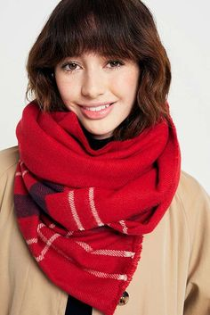 Red Checked Scarf | Urban Outfitters