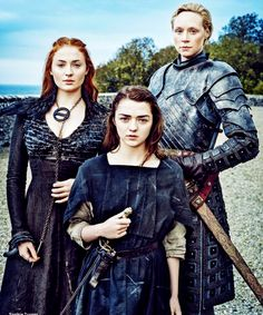 Sophie Turner as Sansa Stark, Maisie Williams as Arya Stark and Gwendoline Christie as Brienne of Tarth for Entertainment Weekly