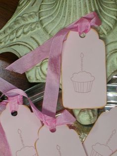 "6 Cupcake ""Celebrate"" Pink Scallop Gift Tags with Seam Binding Ties"
