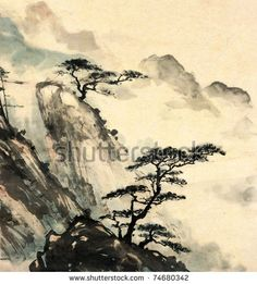 Chinese landscape painting. by iBird, via ShutterStock