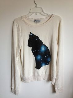 Must try to DIY this:  Wildfox Couture Galaxy CAT Sweater Baggy Beach Jumper Size S M L        | eBay