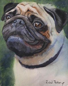 Pug Dog Art Print of my watercolor painting by rachelsstudio - Poised Pug