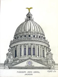 Mississippi State Capitol Drawing   Artwork by my 87 year old Grandfather, Frederic Kohli.  It's truly amazing how wonderful these are despite being blind in one eye.  He is incredibly remarkable.