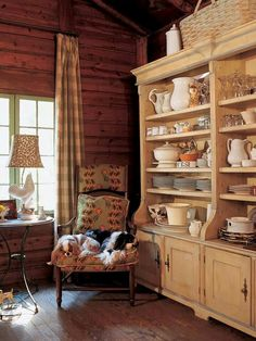 Nice cozy spot. Can see this in the corner of a log cabin kitchen.
