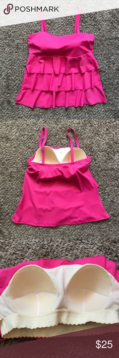 Cacique Swim Tankini Top Cute pink tankini top by Cacique (Lane Bryant). Layered ruffles and built in bra. Size 14. Cacique Swim