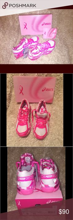 Asics Breast Cancer Pink Ribbon Running Shoes Support the cause loud and proud in the ASICS GT-1000 3 Pink Ribbon Running Shoes. Rear and forefoot Gel comfort Soles. This shoes will be the life of the party at your next awareness run. They are a tad bit too small for my feet, otherwise I would not be getting rid of these beauties. Please take advantage of my bundle discounts and Thank You for shopping my closet!! 💋, Melissa Asics Shoes Sneakers
