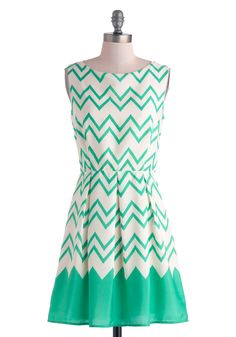 Interviews At The Party Dress - Mid-length Cream Green Chevron Pleats Party A-line Sleeveless Summer Zig Zag Dress, Chevron Dress, Mint Chevron, Turquoise Chevron, Teal, Pretty Outfits, Pretty Dresses, Beautiful Dresses, Retro Vintage Dresses
