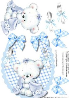 Cute Blue Baby boy Bib with Lovely Teddy  on Craftsuprint designed by Ceredwyn Macrae - A lovely cute blue bib to make and give to anyone with a new baby ,has a lovely teddy and his blanket with bows ,spoon and a fork a lovely card , - Now available for download!