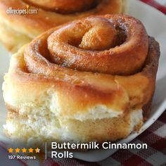 "Buttermilk Cinnamon Rolls ---> Pinner wrote, ""This recipe is amazing! I didn't need to change a thing. My husband is a loyal cinnabon 'eater' and he said he prefers this recipe."" #brunch"