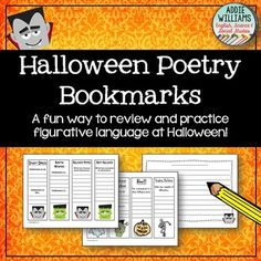 Halloween - A fun and educational set of 20 Halloween themed bookmarks. Students practice writing similes, metaphors, personification, alliteration, onomatopoeia and in rhyme. Also includes 2 pages of themed writing paper. Bookmarks do not have to be printed in color - I ask students to add their own color / ideas / decorations to the front or back.Part of my Halloween Activity Bundleclick the link below to check it out!Halloween Activity BundleWriting, Grammar & PoetryCheck out my other ...