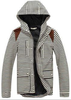 Black Stripe Long Sleeve Hood Men Blends Jacket Coat M/L/XL @509SJJ04b