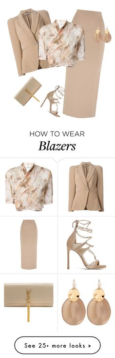 """outfit 4053"" by natalyag on Polyvore featuring Alexander McQueen, Joseph, Stuart Weitzman, Romeo Gigli, Alexis Bittar and Yves Saint Laurent"