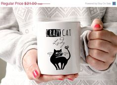 10% OFF  EASTER SALE crazy cat lady mug crazy cat by GotAThought