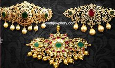 22 carat gold choker plus bajuband designs by Omprakash jewellers and Pearls. Gold Earrings Designs, Gold Jewellery Design, Gold Designs, Gold Jewelry For Sale, Indian Jewelry, Wedding Jewelry, Fashion Jewelry, Band, Gold Choker