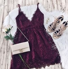 49 Cute Summer Outfits | Fashion Inspiration @luxelatte on Instagram. -- date night outfit. lace dress outfit. purple dress. sandals with heels. white rose. evening outfit.