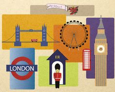 #flat #design #poster: London cityscape England Poster Print 8x10 unframed  Illustration