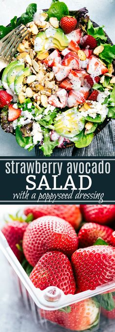 A super simple strawberry and avocado salad with a creamy poppyseed dressing and candied almonds. A salad that will please a crowd! chelseasmessyapron.com
