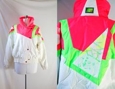 Vintage 80's Ski Jacket Neon and White Boulder Gear by VintageCommon, $89.99