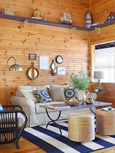 12 Small Coastal Living Room Decor Ideas with Great Style - Cozy Nautical Living Room with Pine Walls - Cottage Style Living Room, Fresh Living Room, Coastal Living Rooms, Living Room Interior, Home Interior, Living Room Furniture, Living Room Decor, Interior Design, Cozy Living