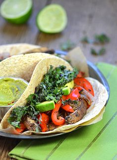 Roasted Portobello & Red Pepper Tacos