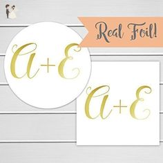 Initials Wedding Sticker Gold Foil Personalized Invitation Save The Date Stickers
