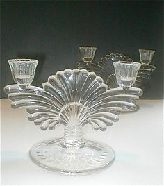 Depression Glass Candle Holder Pair Peacock by studiostebbylee Glass Candle Holders, Candlestick Holders, Glass Candlesticks, Candleholders, Funky Decor, Mixing Bowls, Pressed Glass, Antique Glass, Flourish