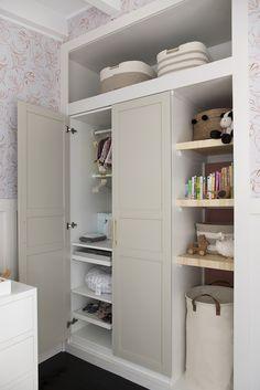 Mid Century Nursery Makeover – Room for Tuesday - Wardrobe Ikea Wardrobe Hack, Ikea Pax Closet, Bedroom Built In Wardrobe, Wardrobe Closet, Closet Bedroom, Ikea Pax Hack, Wardrobe Makeover, Ikea Makeover, Closet Built Ins