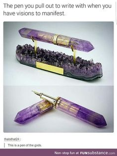 Amethyst Fountain Pen Partnership with ST Dupont Paris - so pretty, but it looks uncomfortable to use Objet Wtf, St Dupont, Take My Money, Things To Buy, Inventions, Krystal, Geek Stuff, Cool Stuff, Cool Ideas