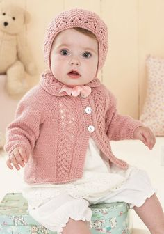 Knitting Pattern 1418 - Cardigans & Bonnet in Sirdar Snuggly DK wool & yarn Baby Girl Cardigans, Baby Cardigan, Baby Sweaters, Baby Patterns, Knit Patterns, Sirdar Knitting Patterns, Knitting For Kids, Knitted Hats, Knit Crochet