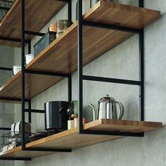 step by step guide on how to make open shelving from someone who creates shelf brackets, this easy DIY wood shelf tutorial provides useful tips and sources Industrial Kitchen Design, Vintage Industrial Furniture, Industrial House, Industrial Kitchens, Industrial Lamps, Küchen Design, House Design, Design Ideas, Furniture Decor