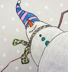 "Artsonia Art Museum :: Artwork by From exhibit ""Worm's Eye View of a Snowman"" by (Art ID from Cedar Creek Elementary— grade 3 United States Winter Art Projects, School Art Projects, 2nd Grade Art, Grade 3, Ecole Art, Theme Noel, Kindergarten Art, Art Lessons Elementary, Art Classroom"