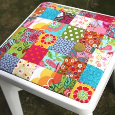 Detail of the patchwork I made for the stool. Lydia chose the colours: a girl of good taste, naturally...