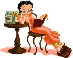 Betty Boop reading while eating pickles. BB art by Patti S. The character was originally created as an anthropomorphic French poodle. Max Fleischer finalized Betty Boop as a human character in 1932, in the cartoon Any Rags.