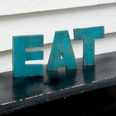 EAT+Word+Sign+Gulf+Blue+Wood+Letters+Kitchen+by+SlippinSouthern,+$28.00