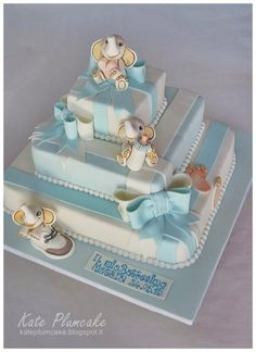 Christening Three Tiers Cake With Baby Elephants By Kate Plumcake - (cakecentral)