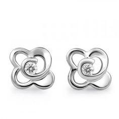 Flower Shape Diamond Earrings on 10K White Gold