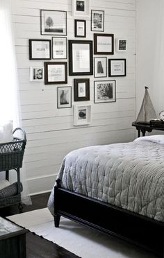 love the gallery wall and the wall itself.  and black and white always wins in my book!