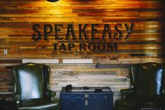 Reclaimed wood walls at Speakeasy Ales & Lagers Tap Room, San Francisco, CA