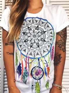 Hand drawn dreamcatcher crew neck top! #sublimate #dreamcatcher