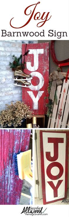 Heres how I made this cool distressed JOY sign on repurposed barnwood. Its very easy and makes for simple, poignant Christmas décor on your front porch or fireplace mantel. More DIY projects and painting tips By Jennifer Allwood Christmas Staircase Decor, Diy Christmas Room, Homemade Christmas Decorations, Christmas Crafts, Holiday Decor, Christmas Signs, Christmas Mantles, Christmas Fireplace, Winter Decorations