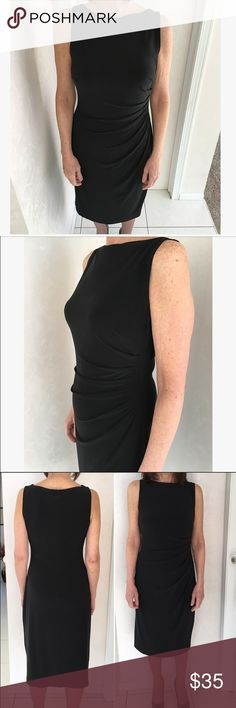 Ralph Lauren Boatneck Ruched Dress Black dress with boatneck collar. Ruching on the side. Tea-length (past knees, midi) and can certainly be shortened. Wear to the office or cocktail party. Ralph Lauren Dresses